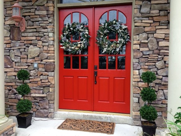 Final effect - mostly matching wreaths and a couple light up topiaries from Lowes - at least the door is ready for the holidays!