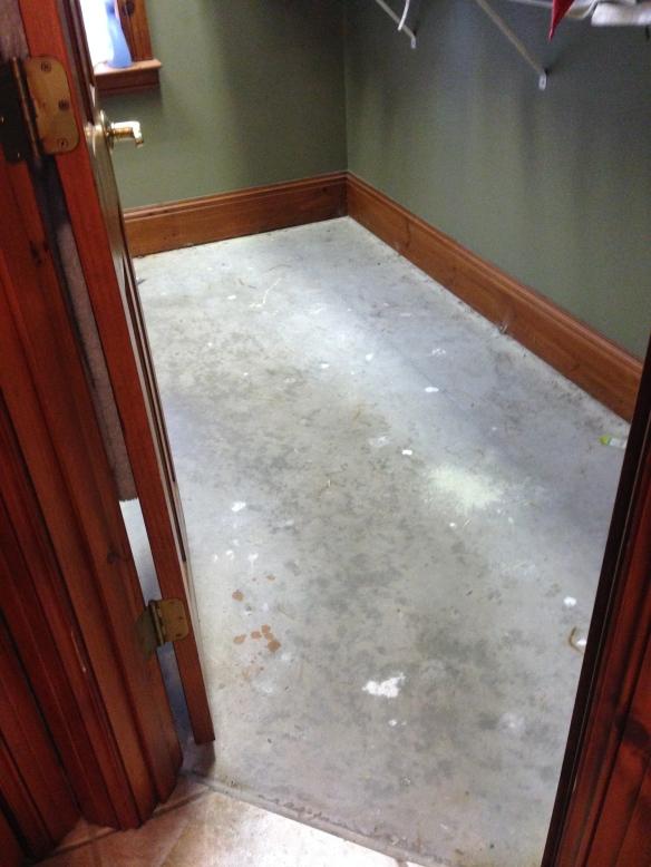 bare concrete in closet
